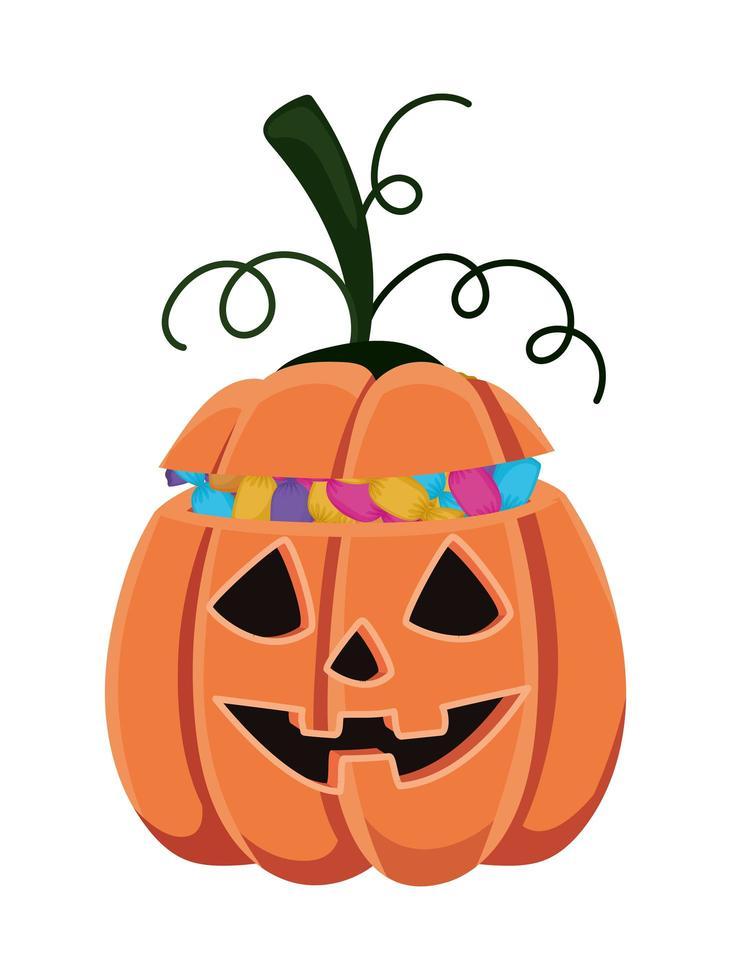 dibujos animados de calabaza de halloween con diseño de caramelos vector