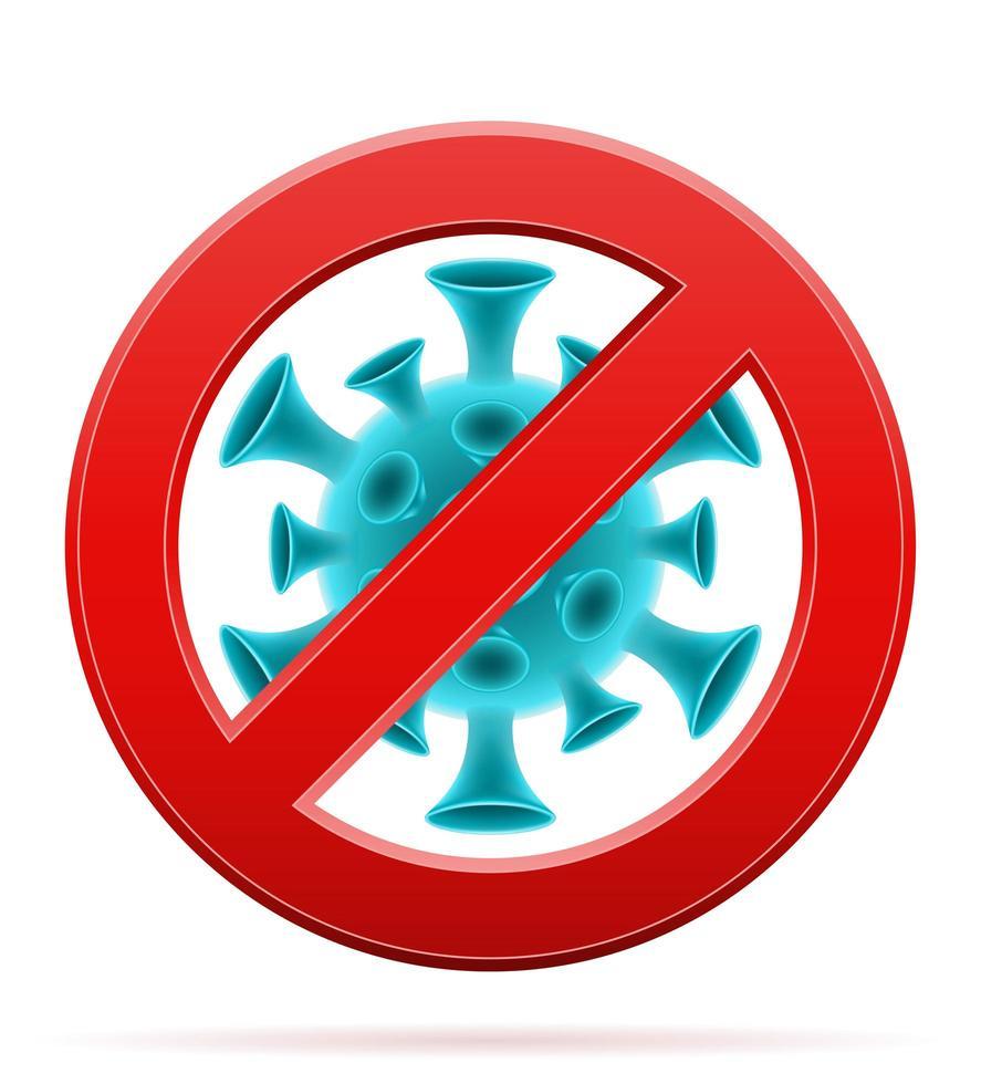 señal de prohibición con célula de coronavirus vector