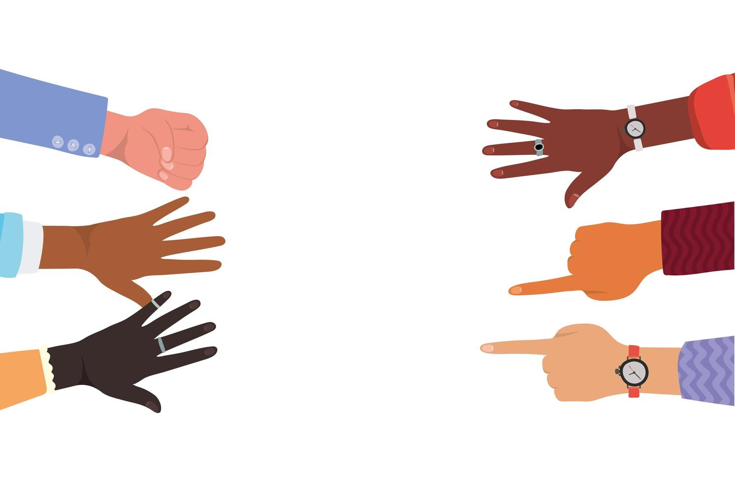 Hands with number one and fist sign vector