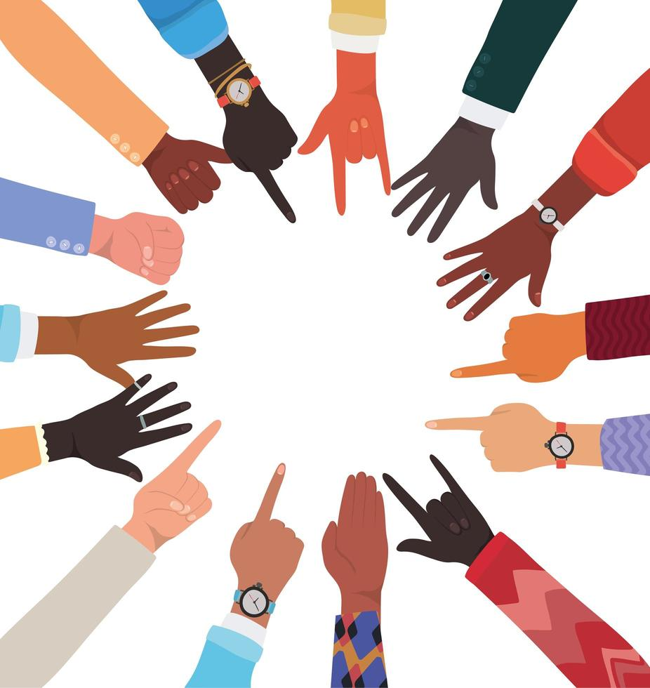 Diversity of hands skin with different signs vector