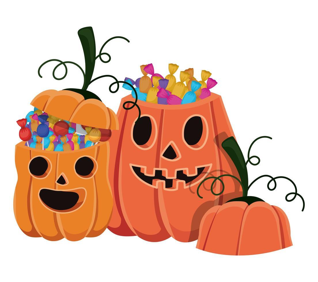 Dibujos animados de calabazas de halloween con diseño de caramelos vector