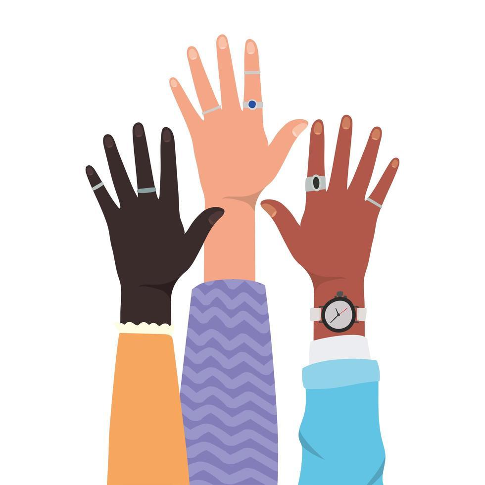 manos abiertas de diferentes tipos de diseño de pieles vector