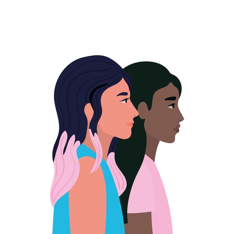 Women cartoons in side view design vector