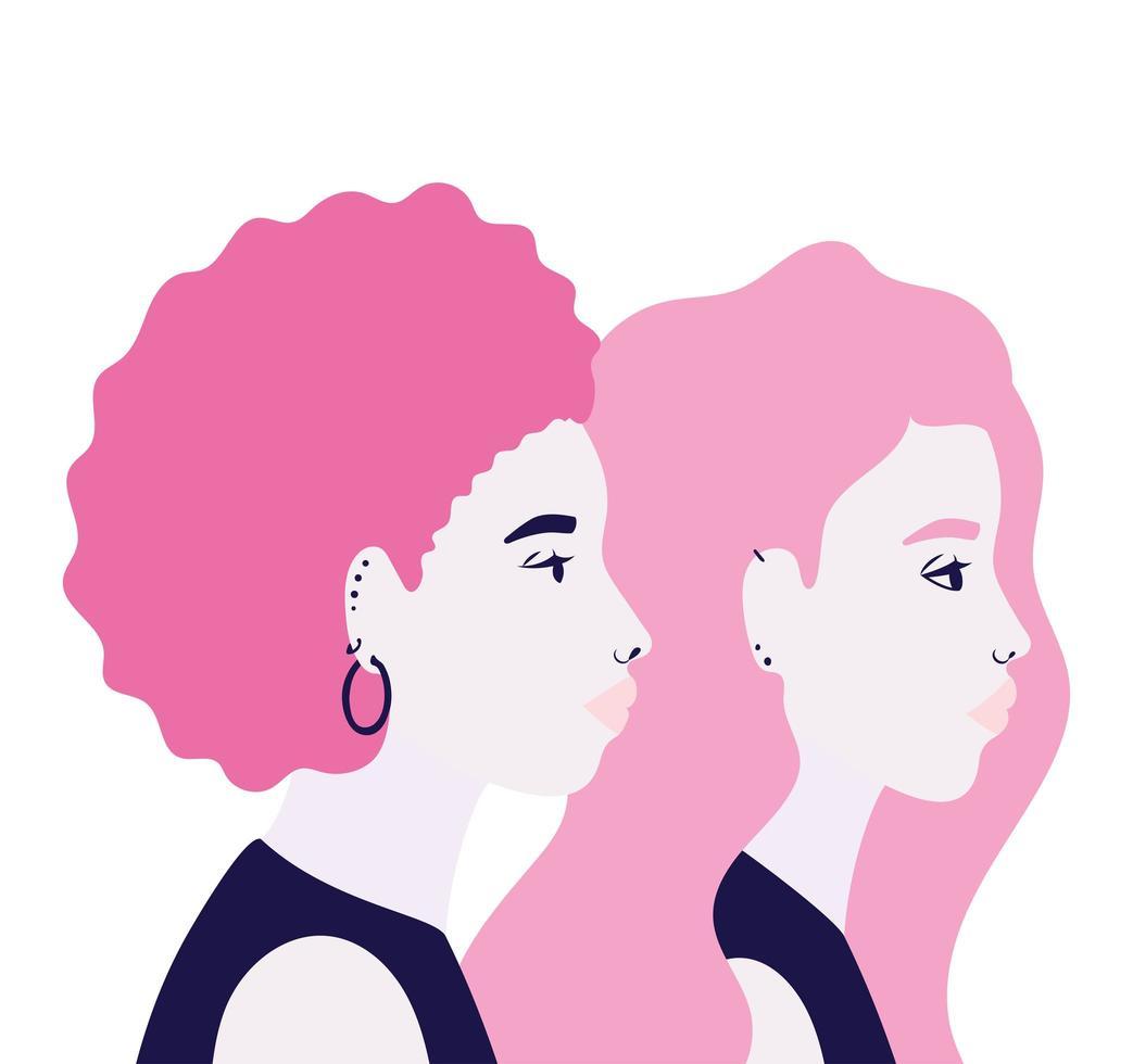 Women cartoons in side view in pink vector