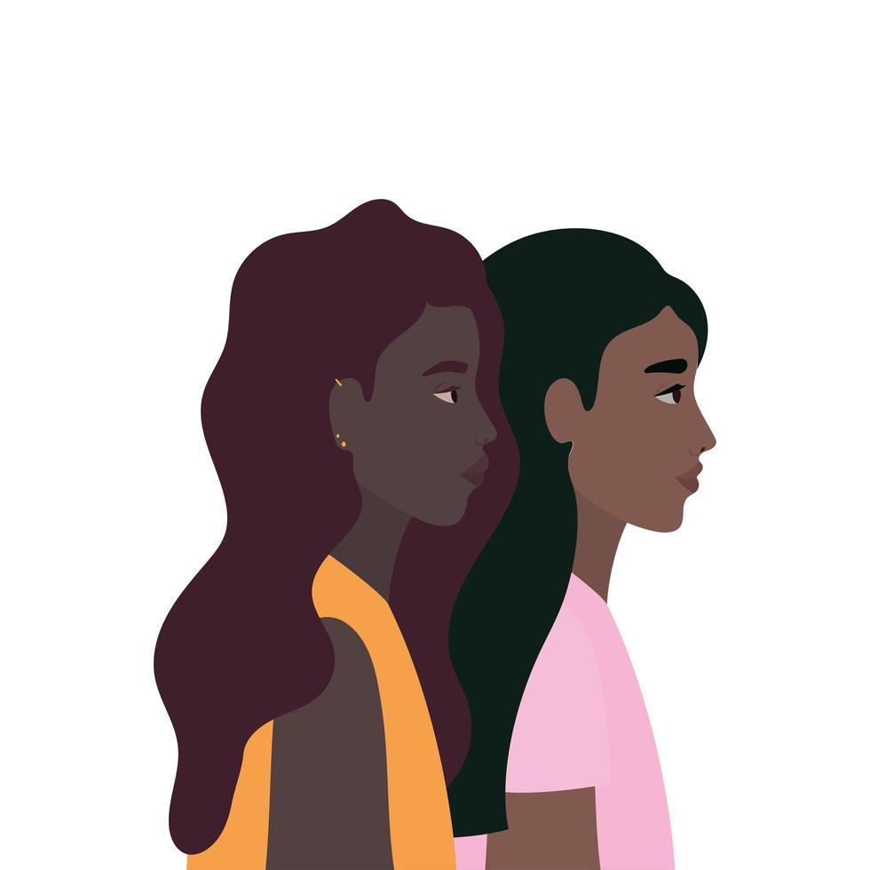 Black women cartoons in side view design vector