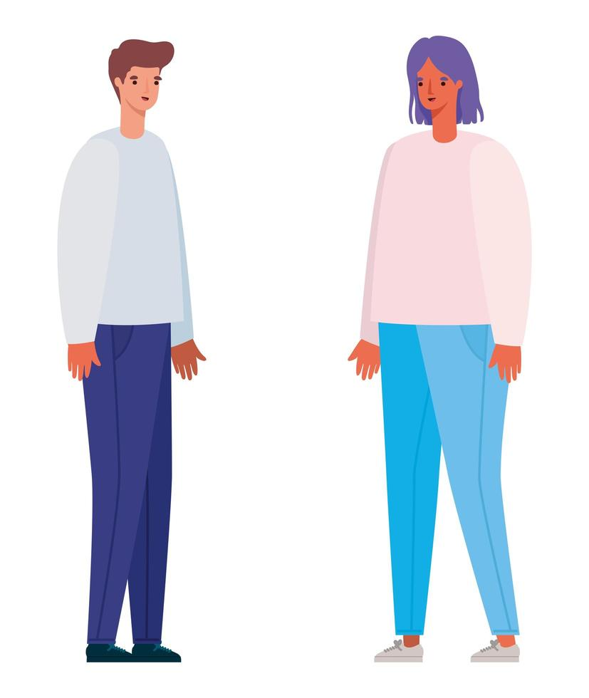 Men and woman avatar cartoon design vector