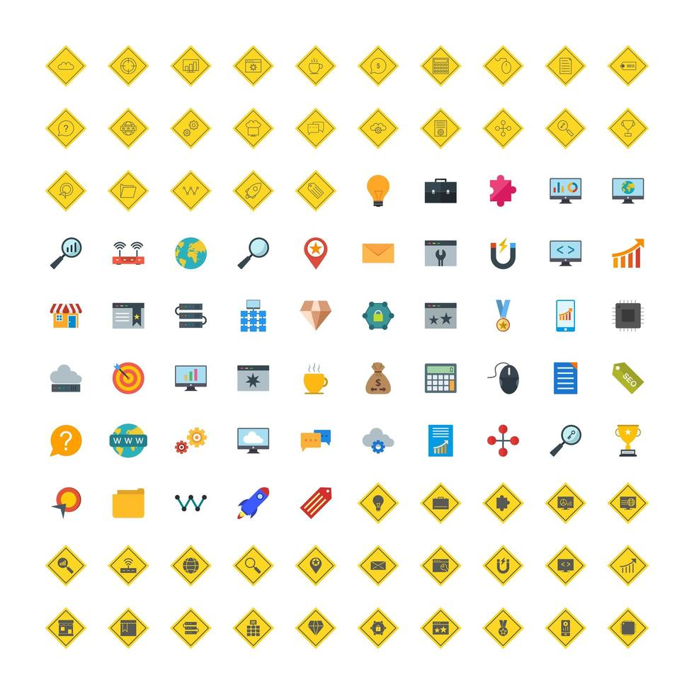Icon Set Of Search Engine Optimization For Personal And Commercial Use. vector