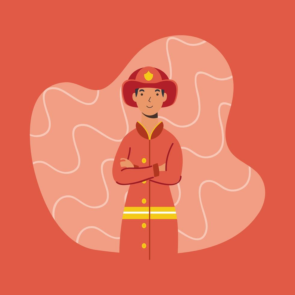 bombero, carácter trabajador esencial vector