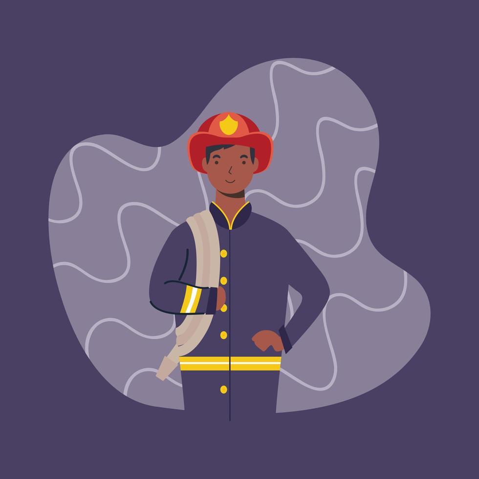 bombero masculino, carácter trabajador esencial vector