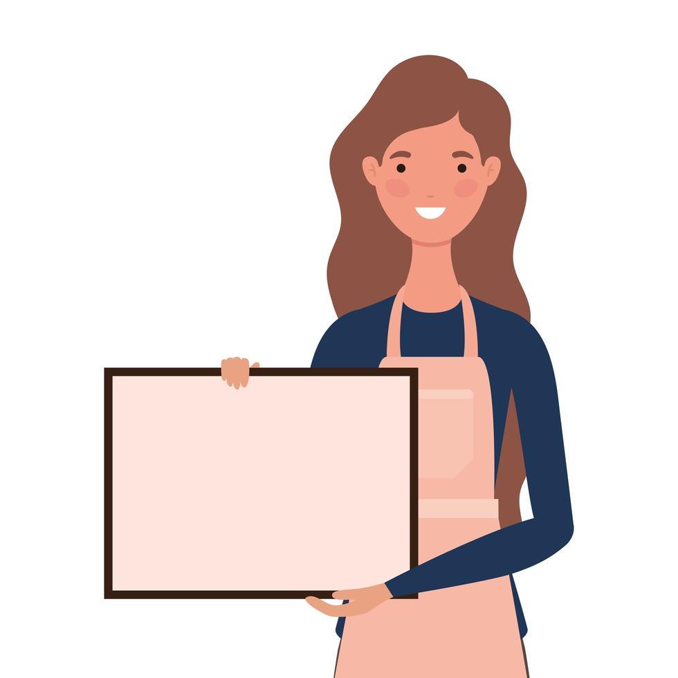 caricatura de vendedora con delantal y pancarta vector