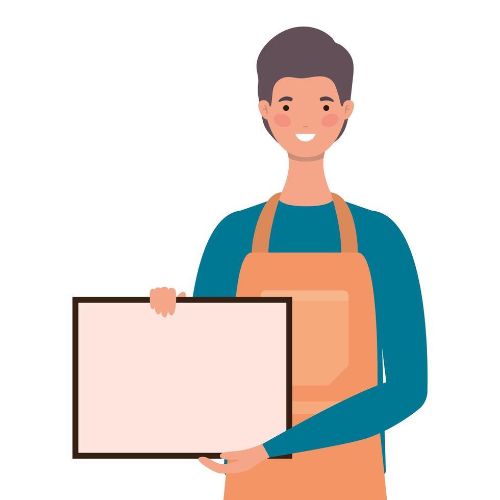 vendedor de dibujos animados con delantal y banner vector