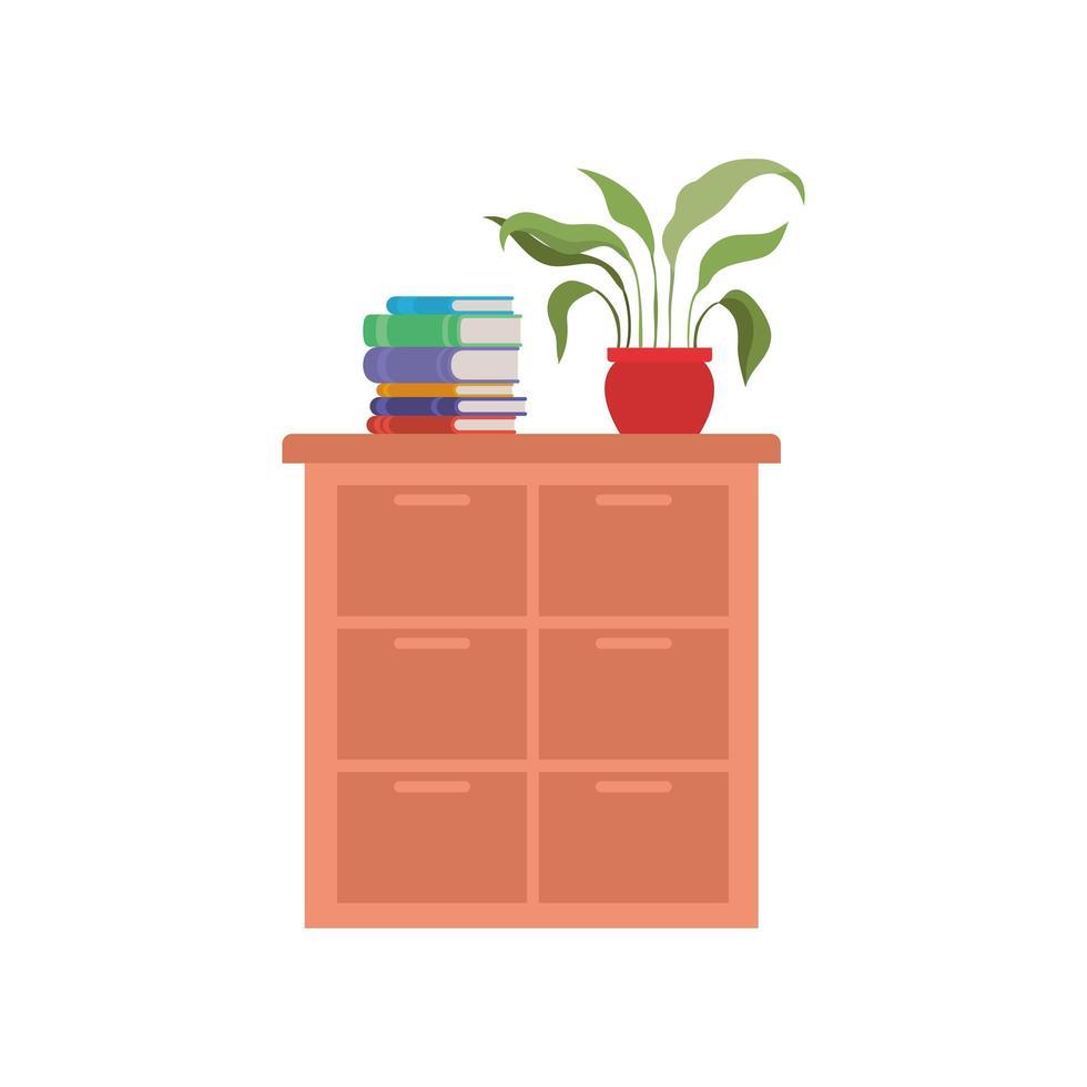 estantería con libros escolares vector