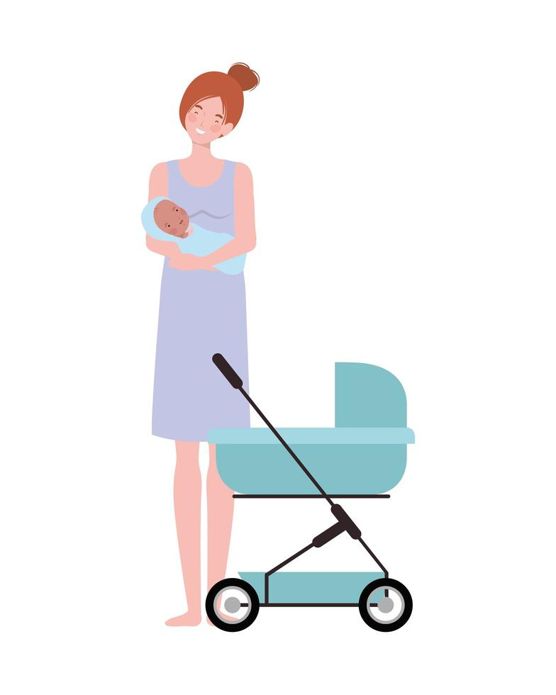 Woman standing with a newborn baby in arms vector