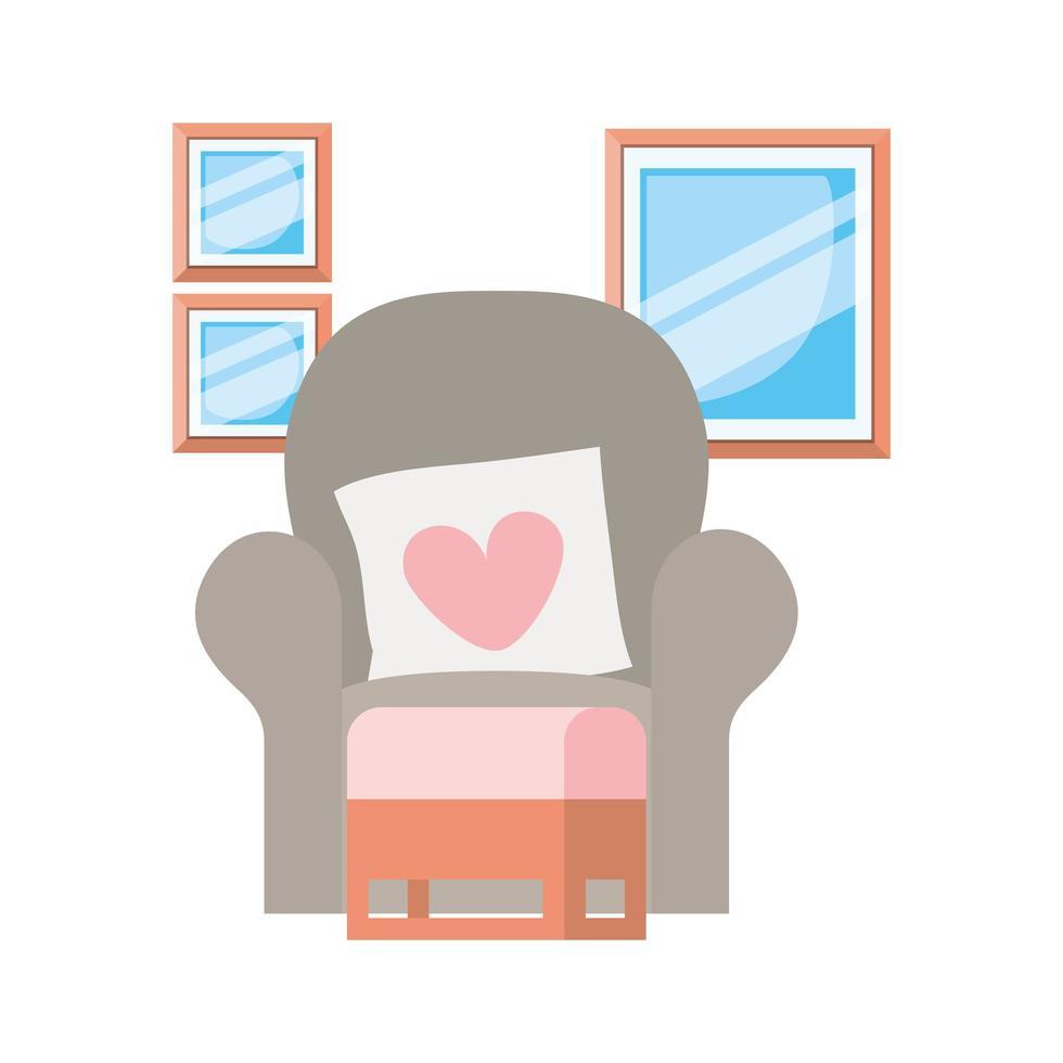 Cómodo sofá en salón con fondo blanco. vector
