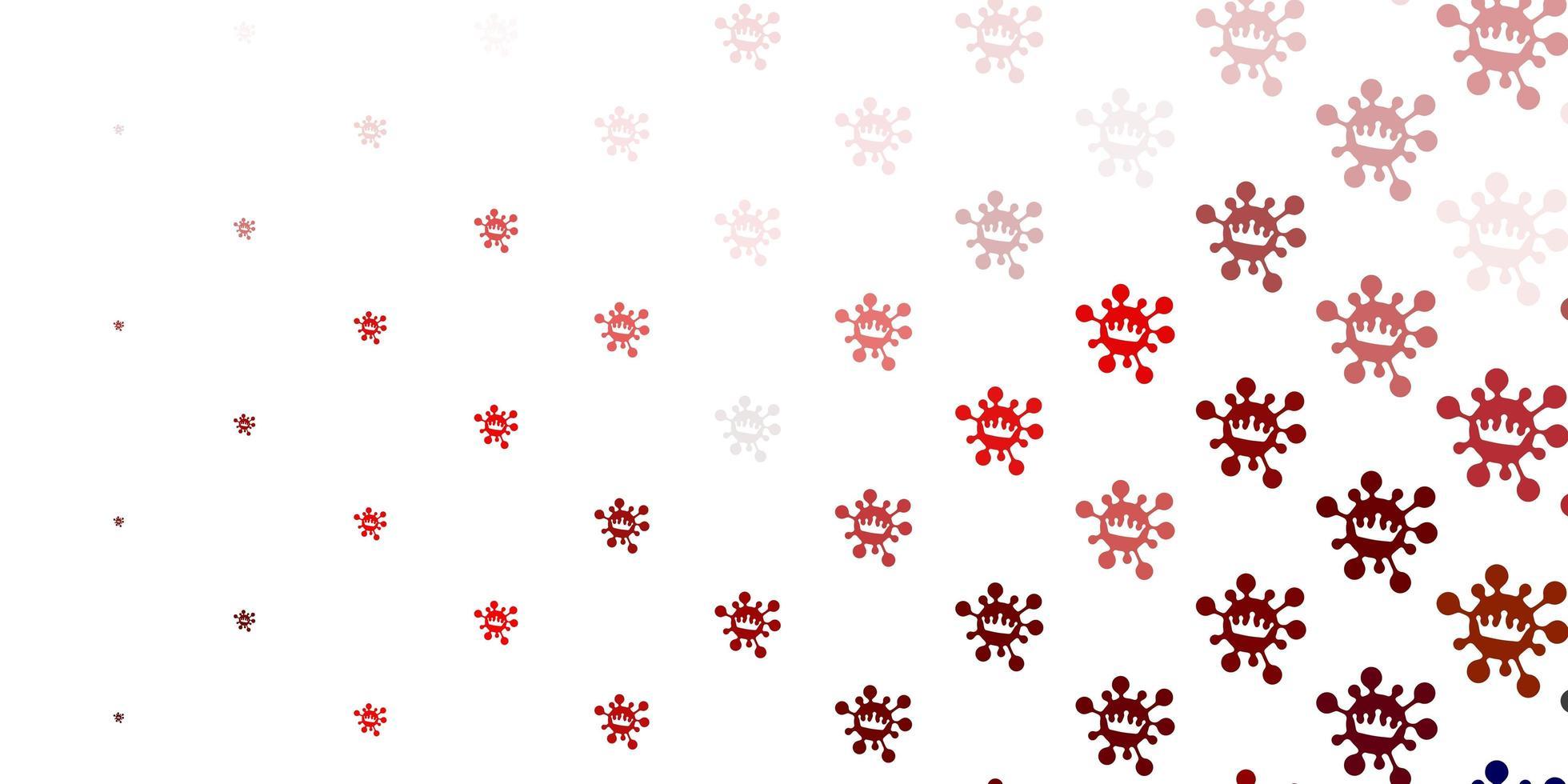 telón de fondo rojo claro con símbolos de virus. vector