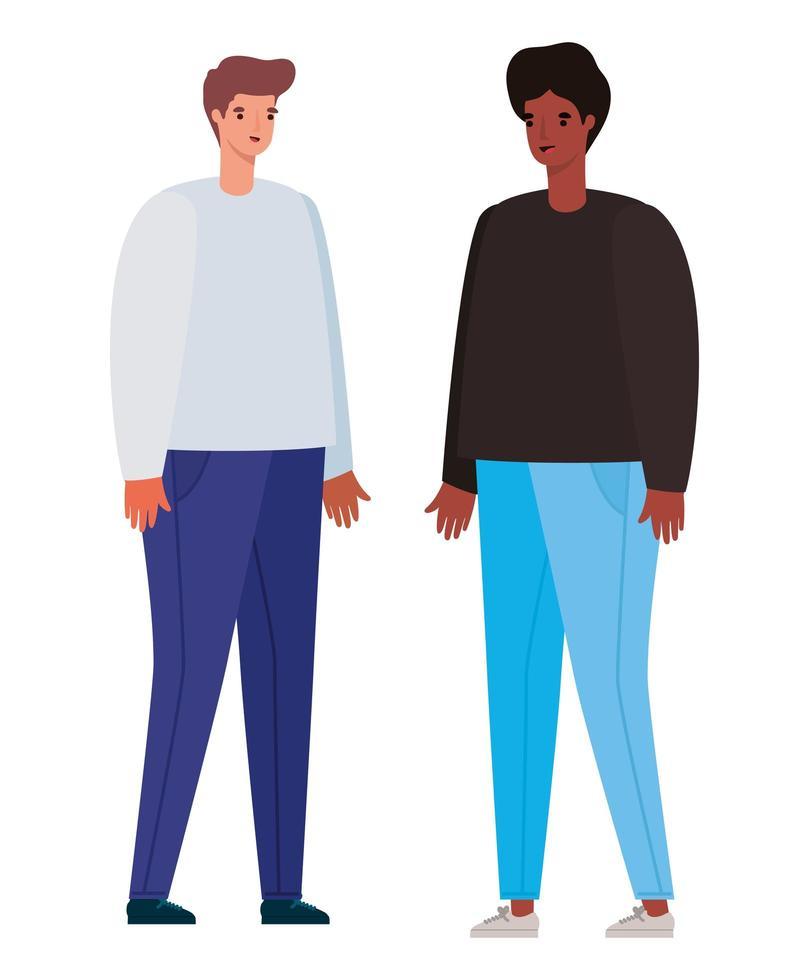 diseño de dibujos animados de avatar de hombres vector