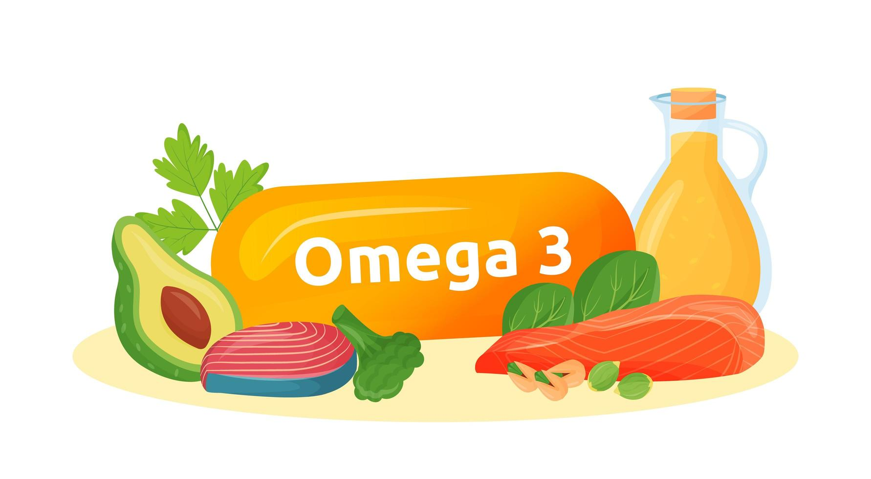Omega 3 food sources vector