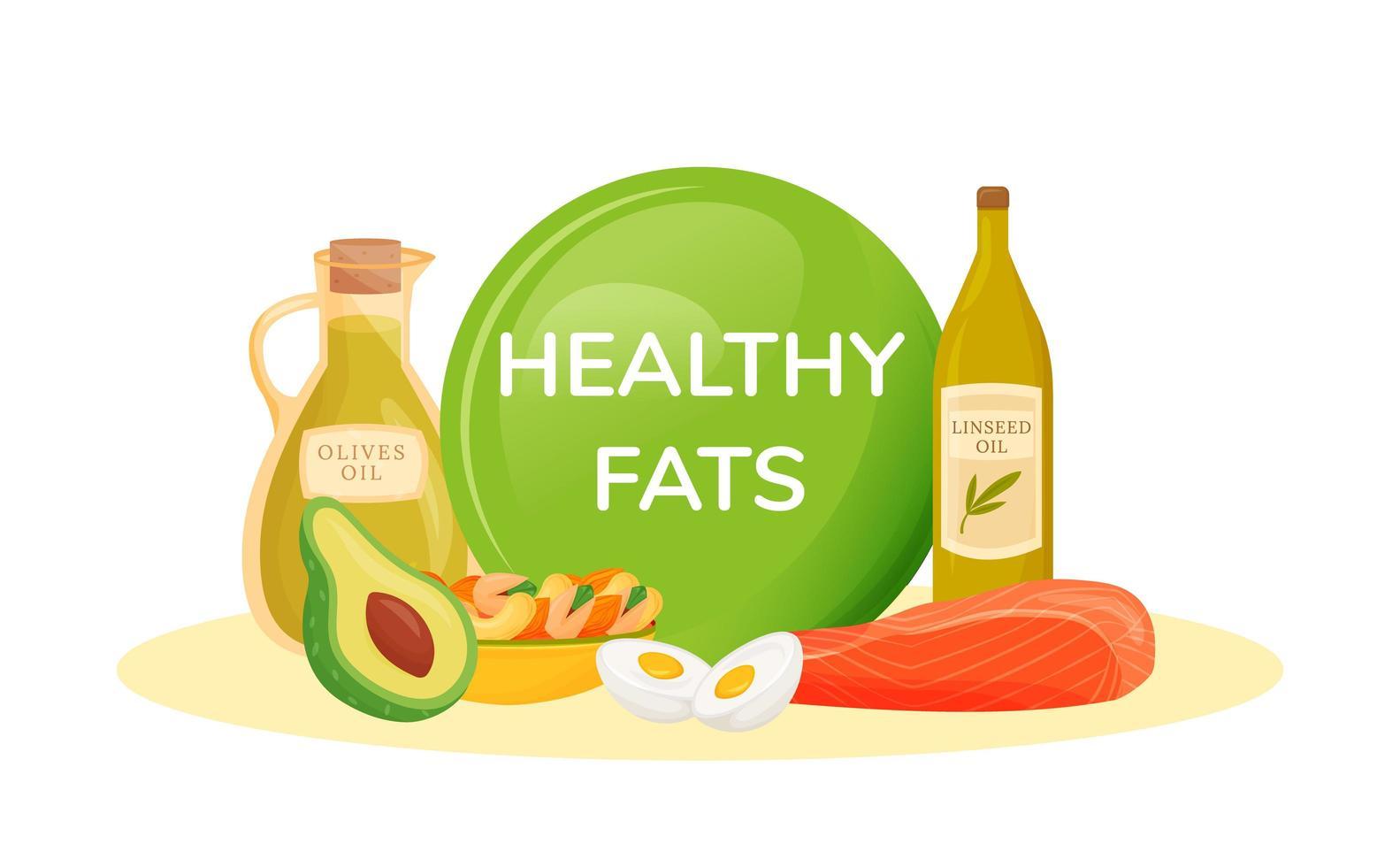 alimentos que contienen grasas saludables vector