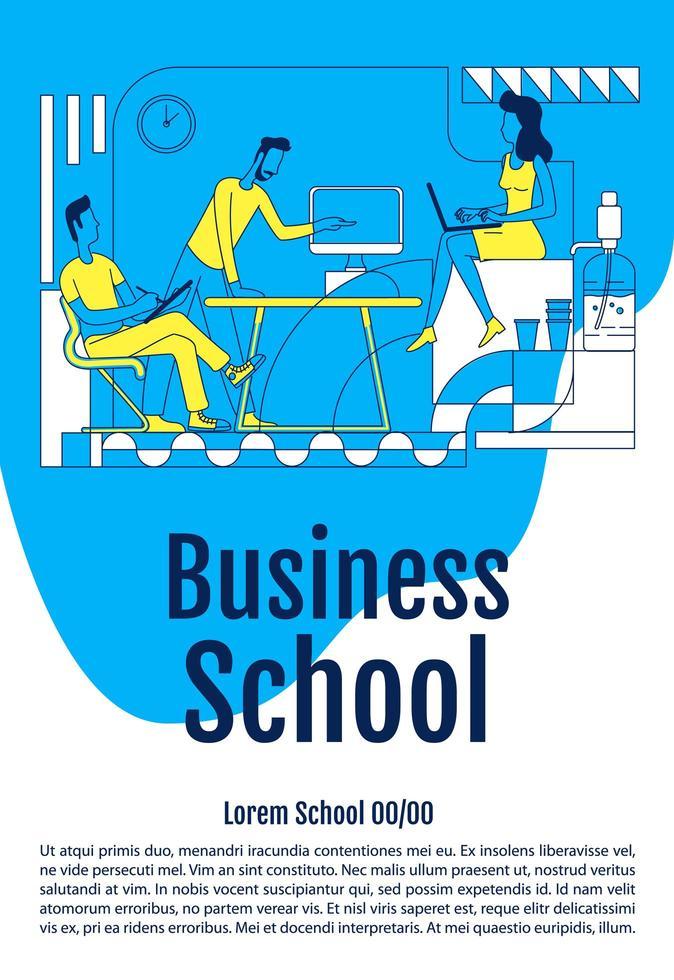 cartel del curso de la escuela de negocios vector