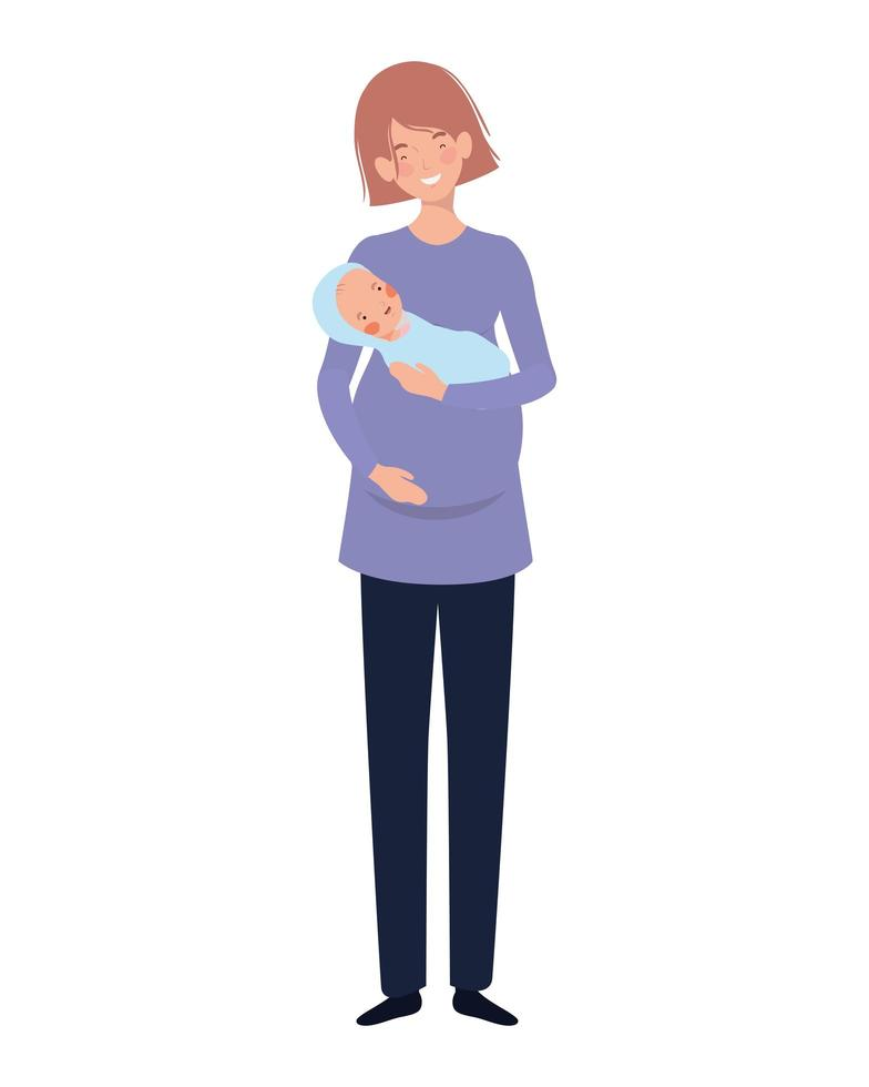 Woman with a newborn baby in her arms vector