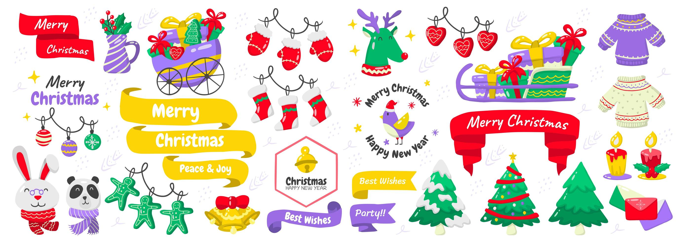 Christmas elements and emblems set vector