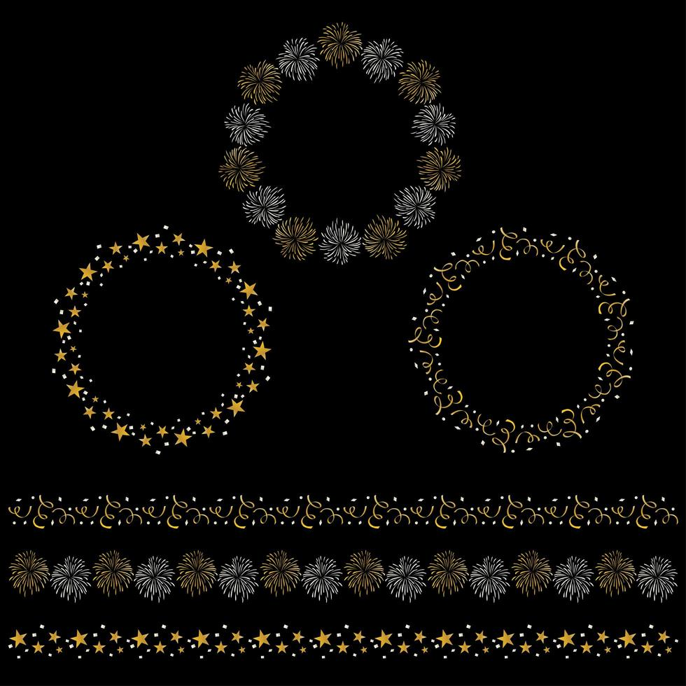 Silver and gold celebration circle frames and border patterns vector