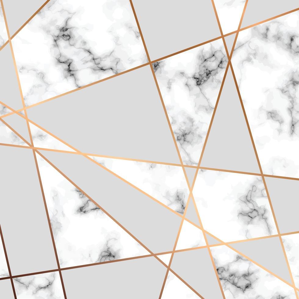 diseño de textura de mármol con líneas geométricas doradas vector