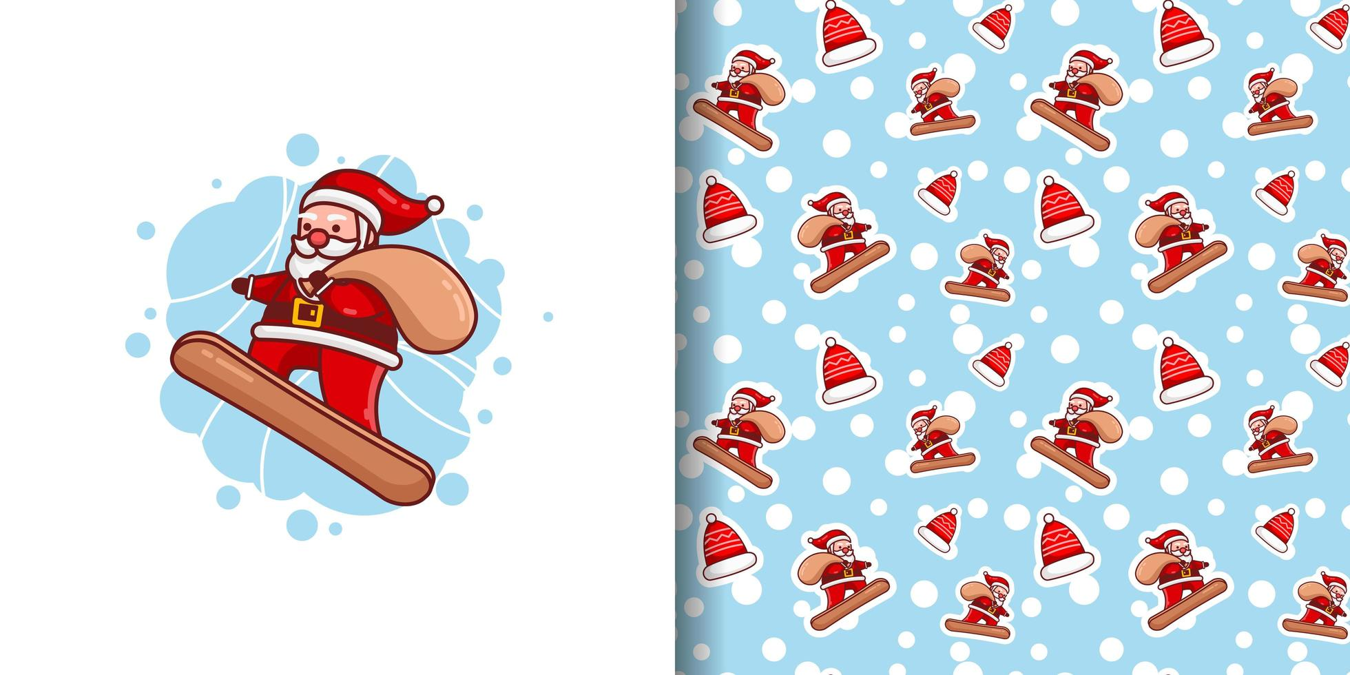 Christmas Cute Santa Delivering Gifts on Snowboard Cartoon Pattern vector