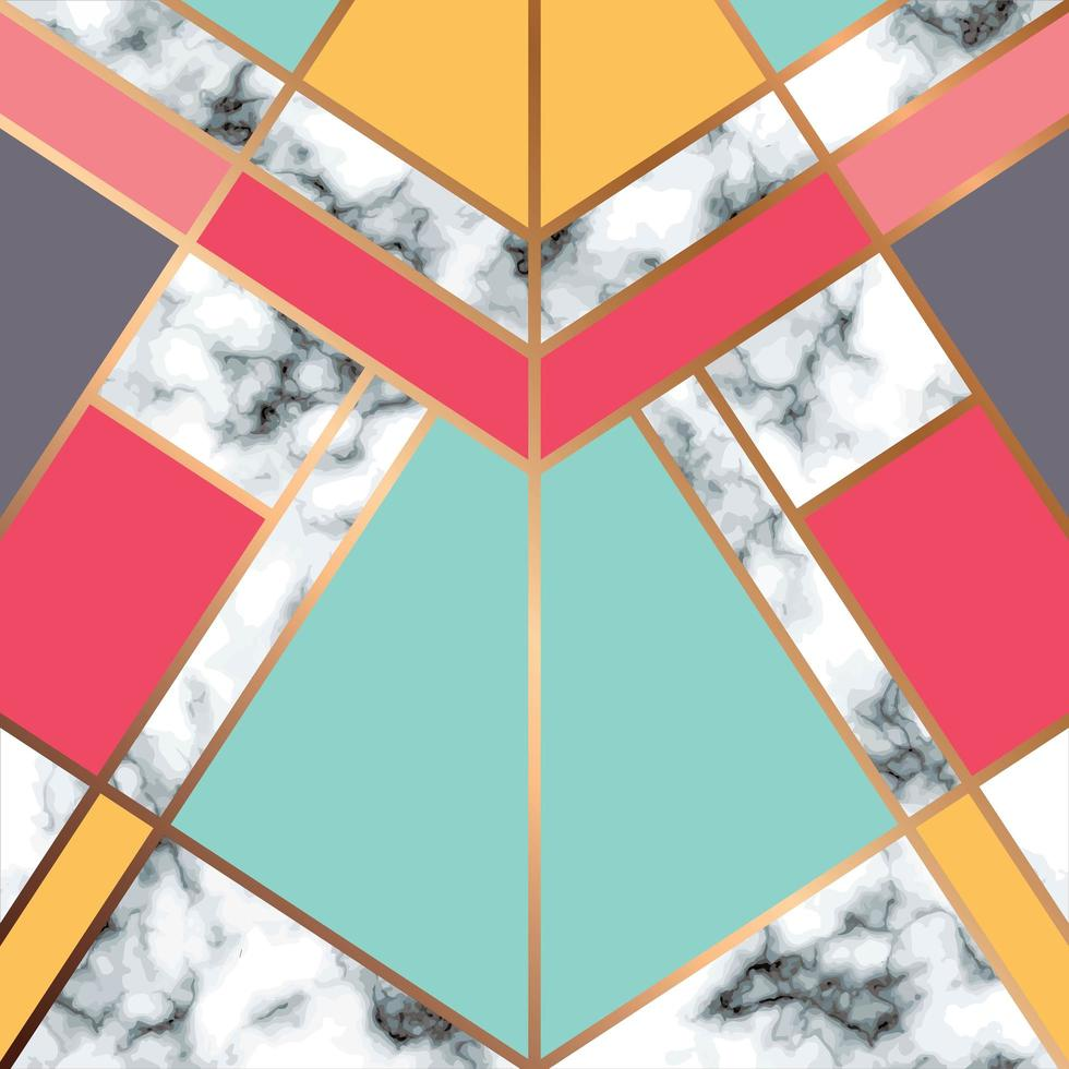 diseño de textura de mármol con línea geométrica dorada vector