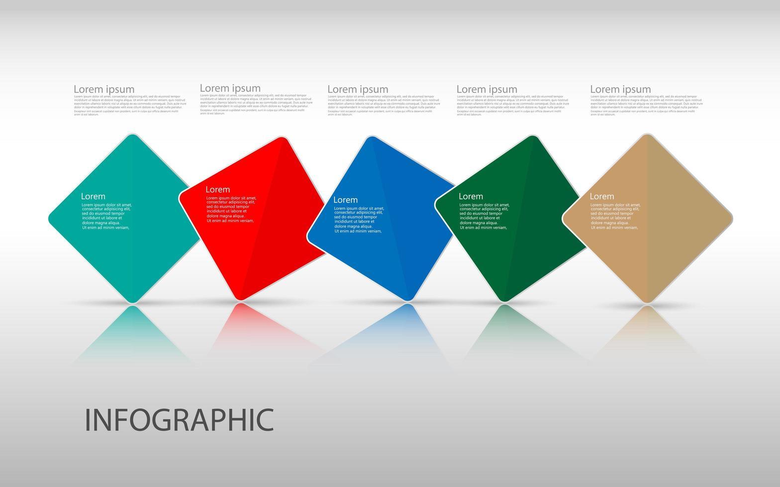 Plantilla de diseño de infografías de línea de tiempo con 5 opciones, diagrama de proceso, ilustración vectorial eps10 vector