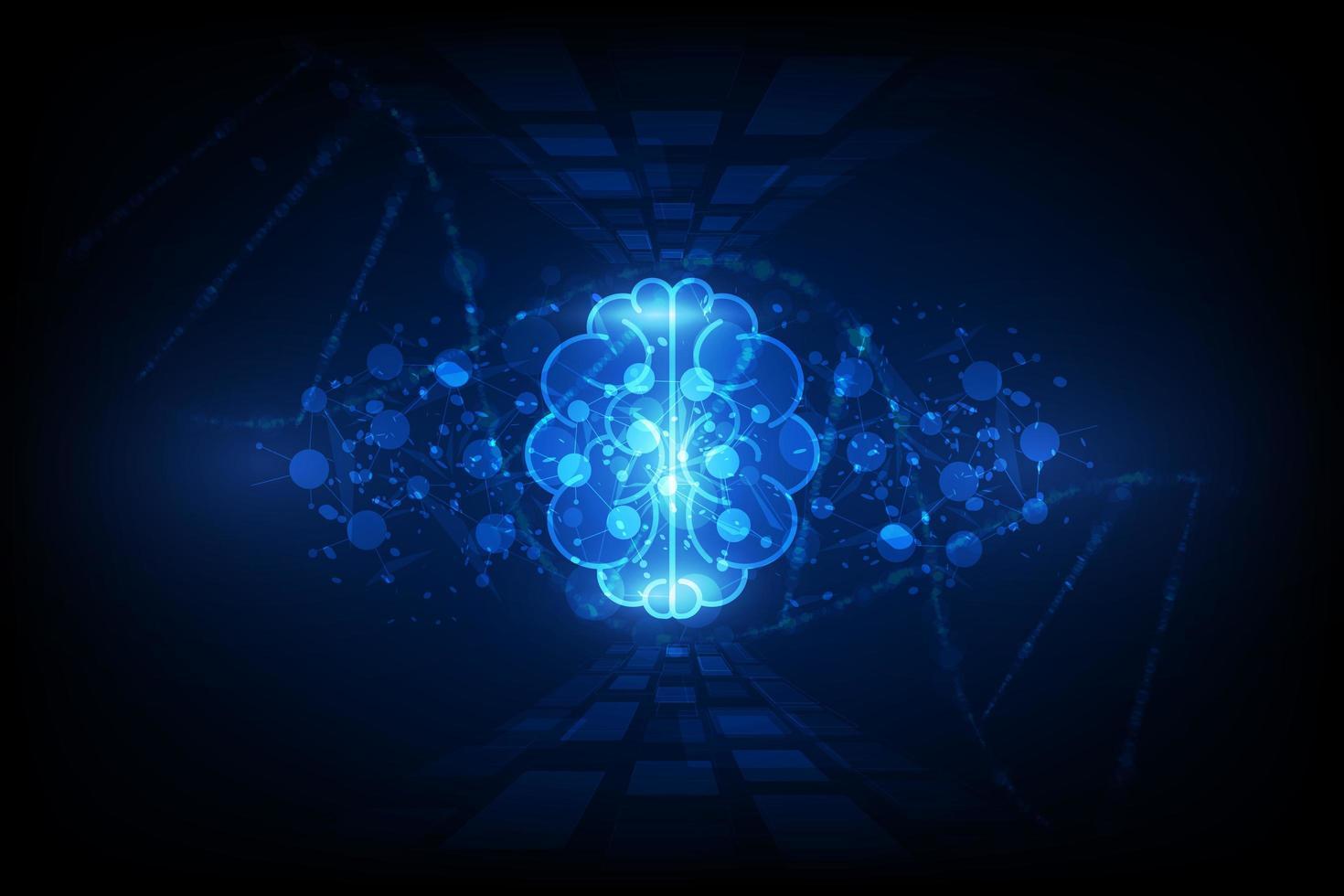 cerebro humano abstracto sobre fondo de tecnología vector