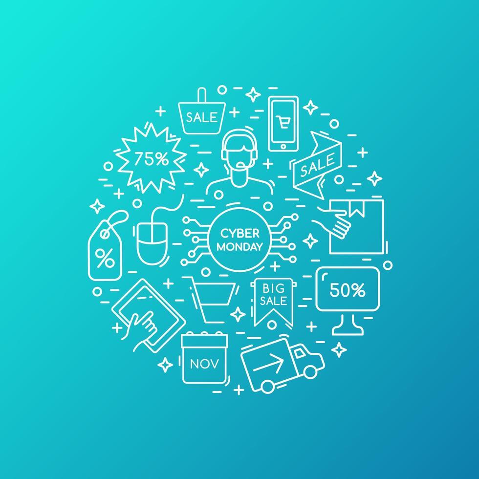 colección de iconos de venta cyber monday. vector