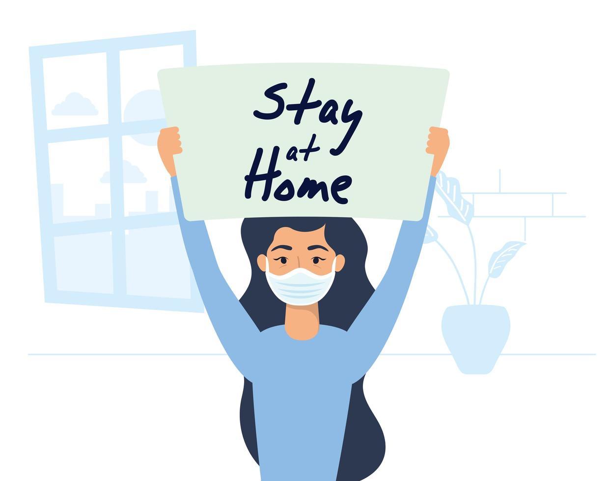 mujer sosteniendo un cartel de quedarse en casa vector
