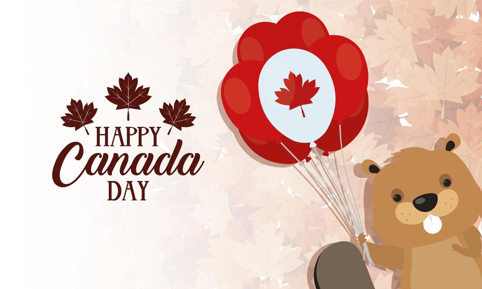 feliz día de canadá celebración banner con castor vector