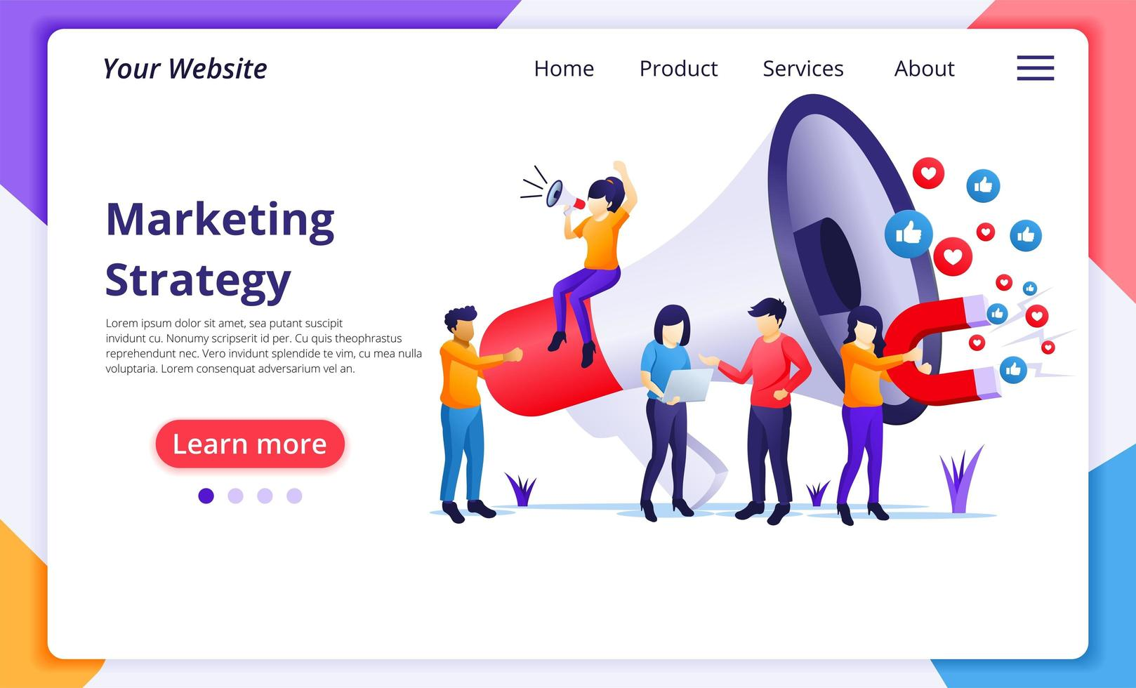 Marketing strategy concept, people holding giant megaphone vector