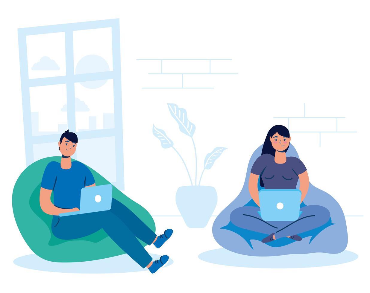 pareja en la computadora portátil en casa vector
