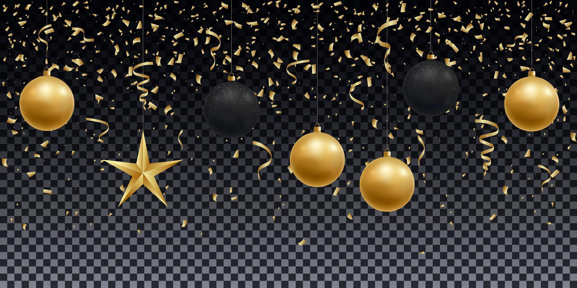 bolas de oro y negro brillante realistas, estrella y confeti vector