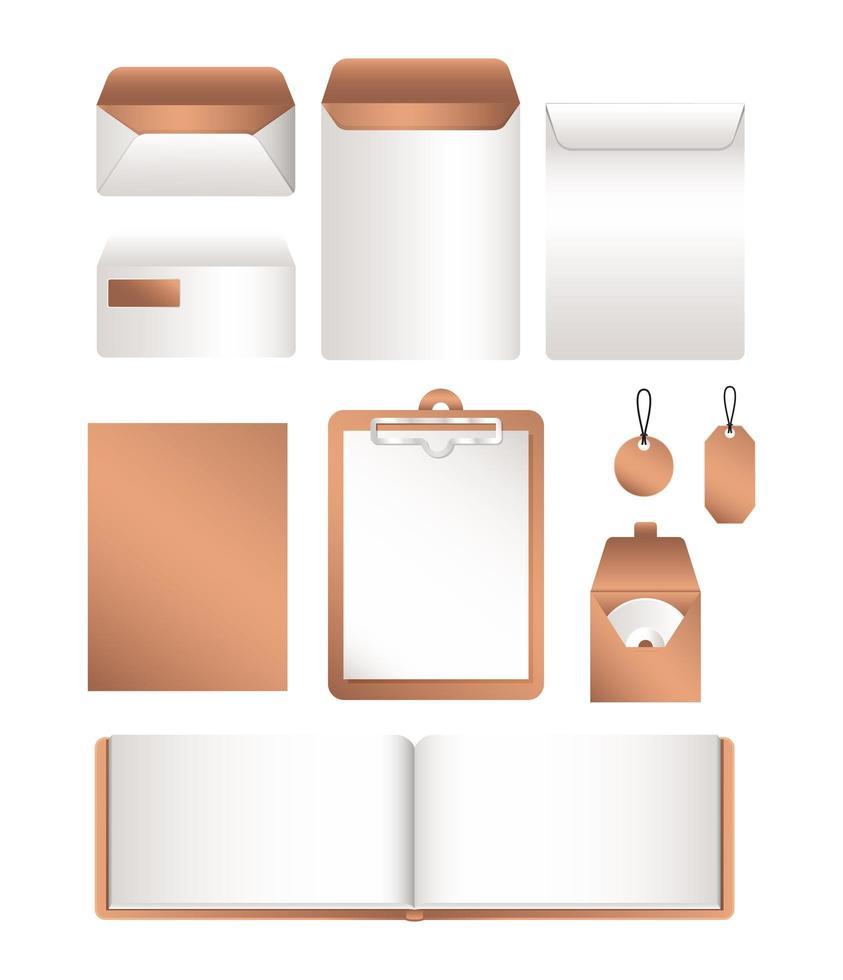 archivo de maqueta aislado y diseño de sobres vector