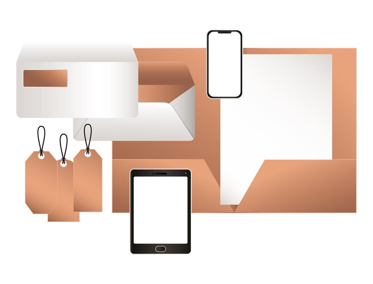 tableta de maqueta con diseño de archivo y sobres de teléfono inteligente vector