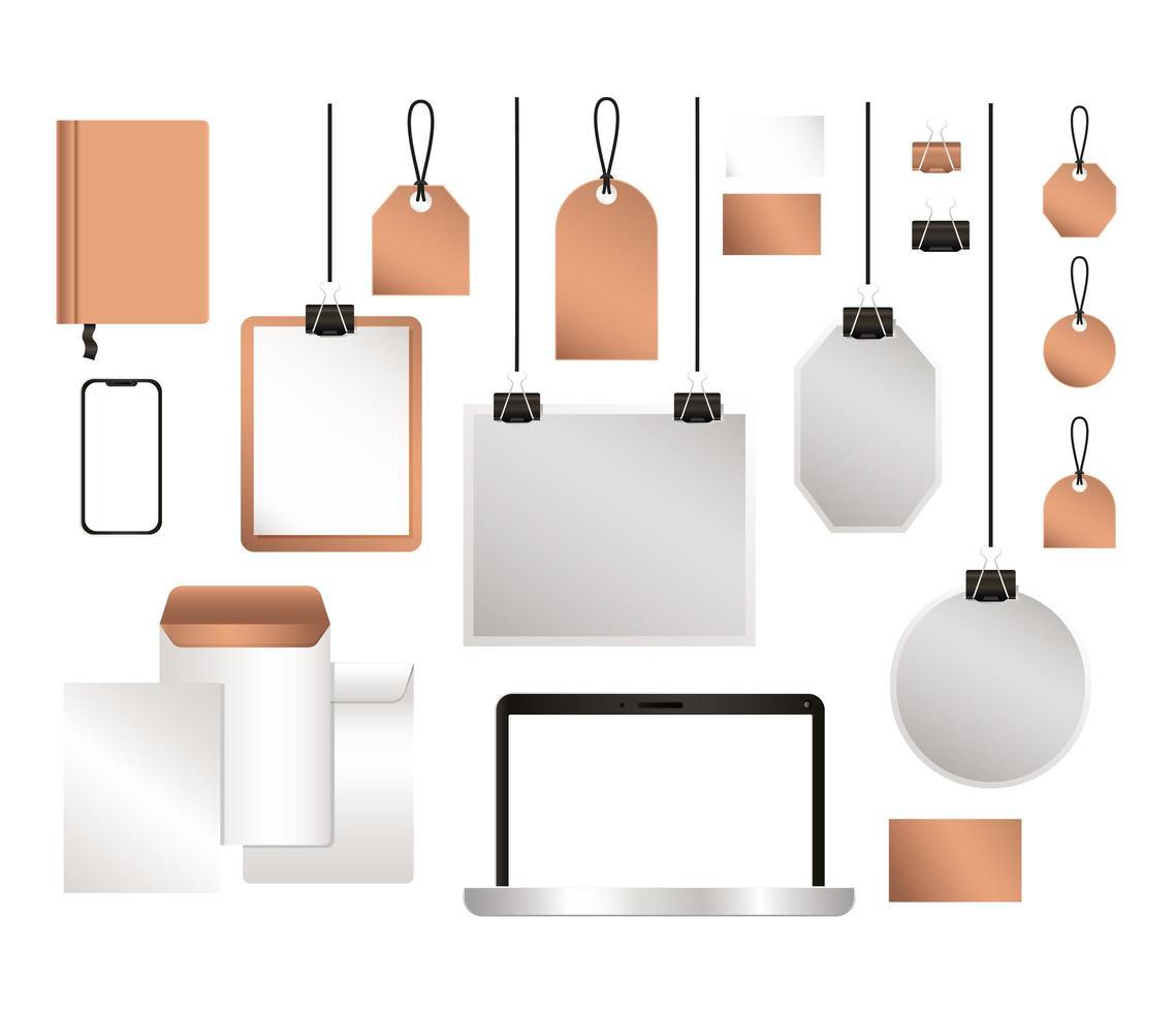 maqueta de teléfono inteligente portátil y diseño de conjunto de identidad corporativa vector