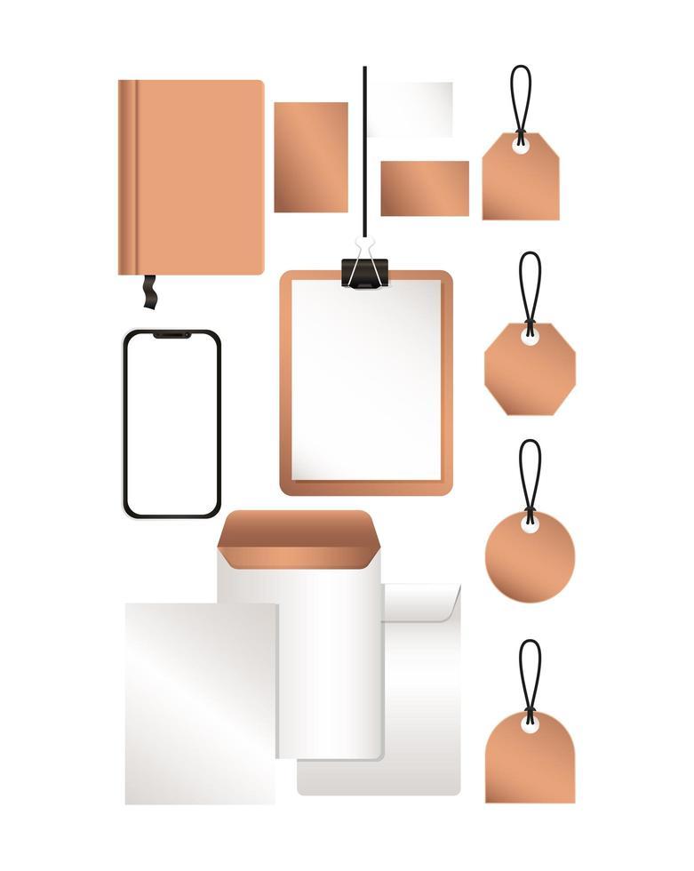 Mockup smartphone envelopes and labels design vector