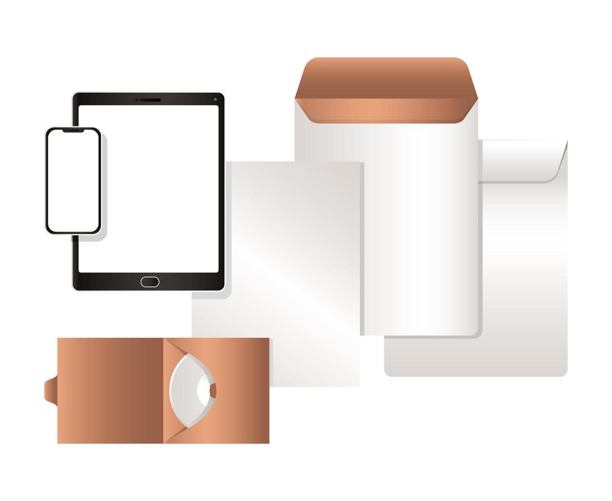 Maqueta de tableta con diseño de sobres y cd de smartphone vector