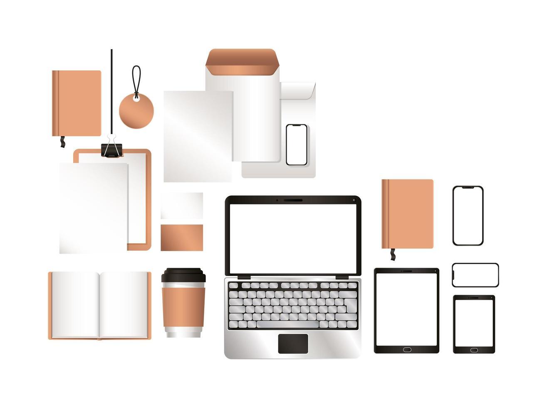 Mockup laptop tablet smartphone y diseño de identidad corporativa. vector