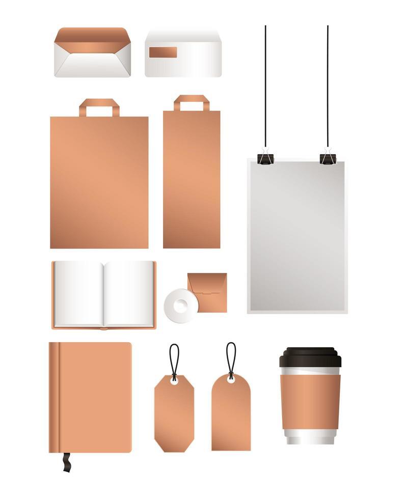 maqueta bolsas sobres cuadernos y diseño de etiquetas vector