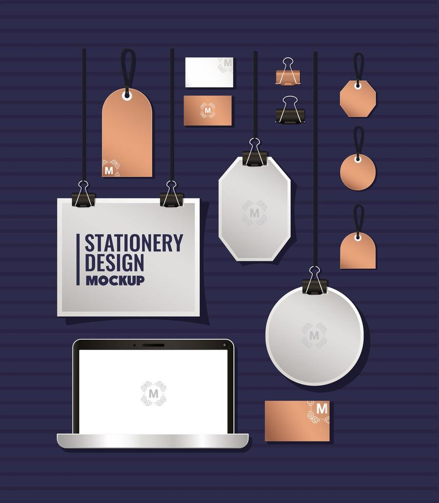 Laptop and branding mockup set design vector