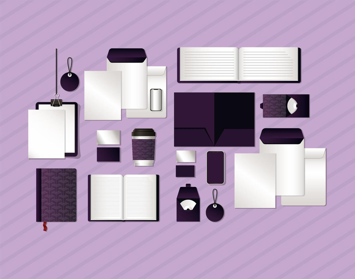 Mockup set with dark purple branding designs vector