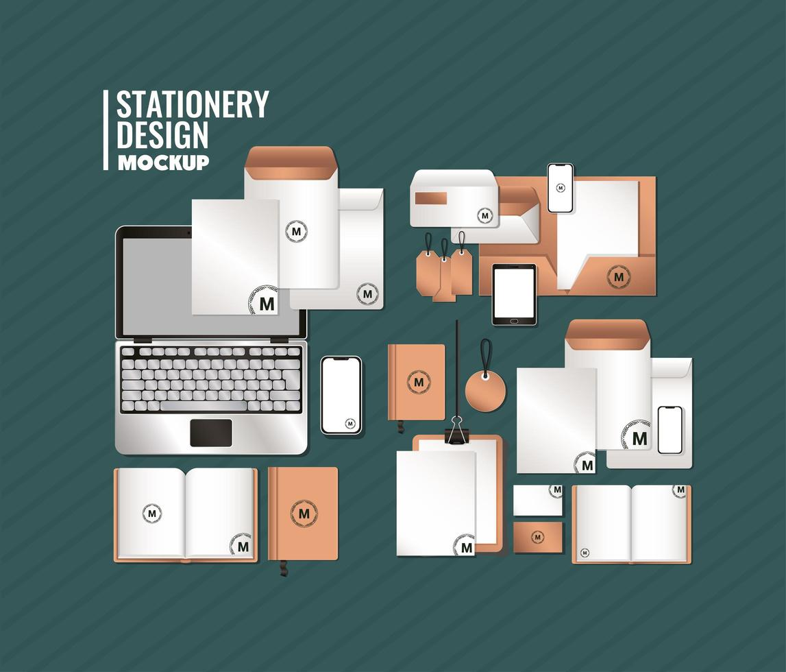 Laptop and branding mockup set design vector