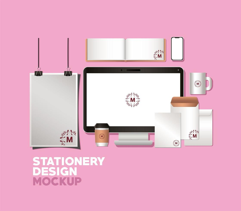 diseño de maqueta de computadora y marca vector