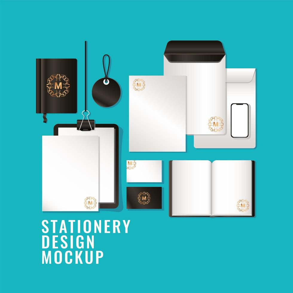 Mockup set with black branding design vector