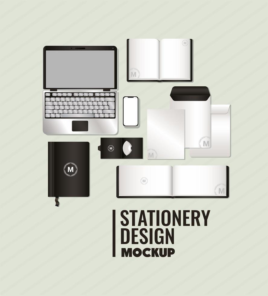 maqueta con diseño de marca negro vector